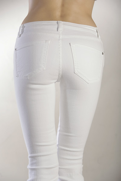 Bum in white jeans
